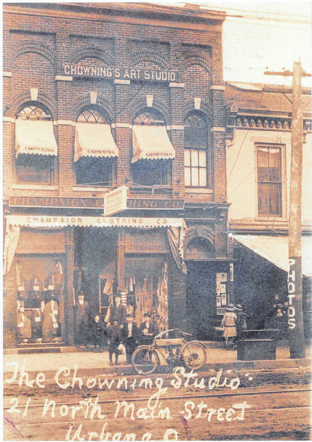 This photo taken about 1915 shows Chowning's Art Studio on North Main Street.