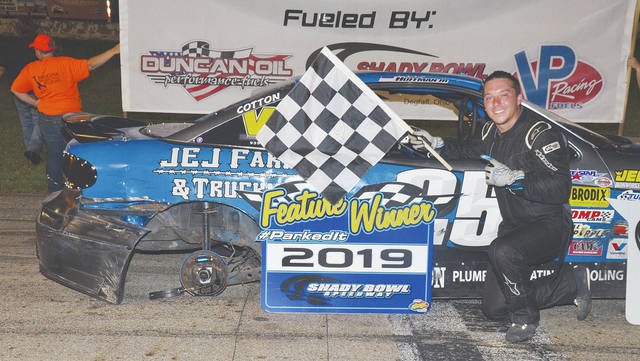 Jimmie Huffman of Mechanicsburg (pictured) won the Nobel Armor Coating mini-stock feature at Shady Bowl Saturday night. He lost his right rear tire on the last lap during his first feature win.