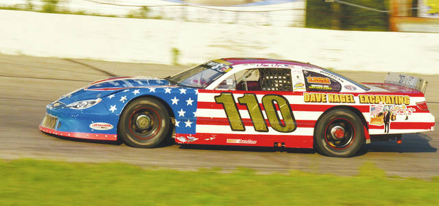 Jim Lewis Jr. puts the Shatto Motorsports late model through its paces at Shady Bowl. The track will hold a memorial for Denny Shatto Saturday night. The late model feature will pay $3,110 to the winner of the 110-lap race.