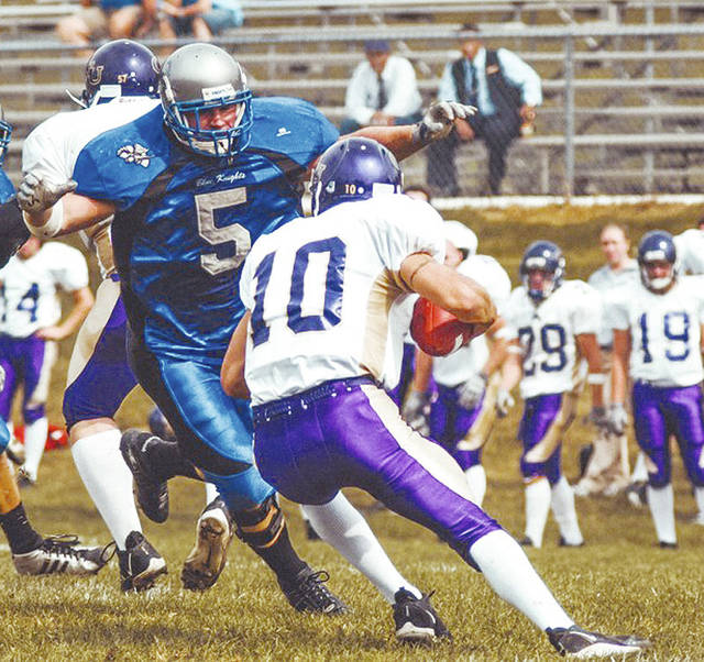 Former Urbana University football player Vince Scalmato (5) has been selected as this year's hall of fame inductee.