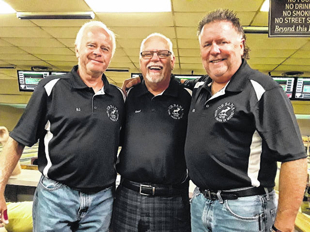 Bob Jumper of Urbana, Steve Reed of Medway and Rick Davis of Urbana (shown here left to right) have bowled together 40 years on the Wednesday Night Citizen League at Southwest Bowl in Urbana.