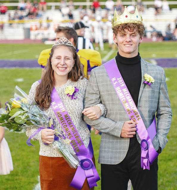 Emma Wilson and Bradley Butsch were selected as homecoming queen and king Friday night at Mechanicsburg. The Indians defeated visiting Greenon, 52-0, in the homecoming contest.