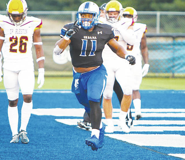 UU's W.R. Sanders Jr. (11) scored four touchdowns in the Blue Knights' 28-20 win over visiting Charleston Thursday night.