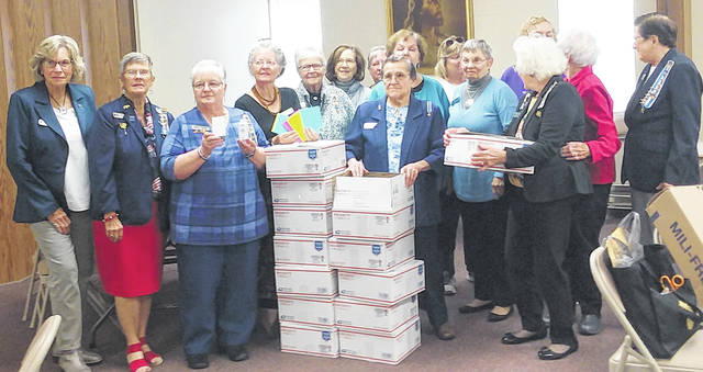 For the annual DAR Service to America project, members of the Urbana Chapter filled care packages to send to the USS Dwight D. Eisenhower Carrier Group.