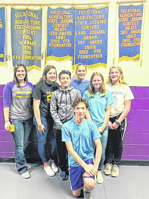 The Urban Soils team includes, back row from left, Coach/FFA Advisor Abby Pozderac, Marissa Hall, Cami McDonald, Dani Schipfer, middle row from left, Camden Maggart, Lilly Marsh and, front, Garrett Durham.