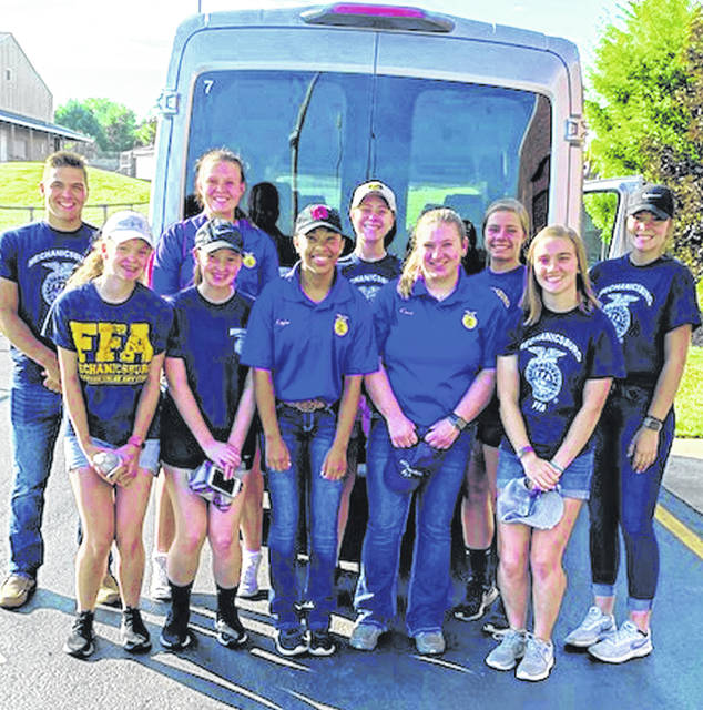 Ten Mechanicsburg FFA members volunteered during the state fair to help the Ohio Cattlemen serve food at two booths. Volunteers were Morgan Hamby, Cori Kent, Emelee Porter, Jenna Tull, Natalie Tull, Jennifer Wallace, Kaylee Warfield, Elyse Wilson, Emma Wilson and Noah Wolf. Members had a great time serving and meeting new people through this opportunity.