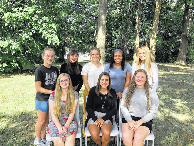 Pictured are, back from left, seniors Telanei Brown, Alyssa Holland, Tessa Armstrong, Jalyn Portis, Sam Tracy, front from left, and juniors Raegan Hepp, Sam Rooney and Stephanie Selvaggio.