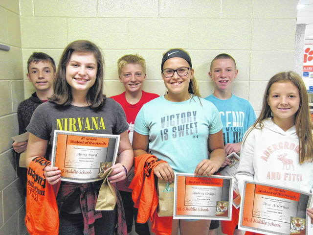 West Liberty-Salem Middle School's September Students of the Month are, from left, 8th graders Zander Fahnestock and Anna Byrd, 7th graders Talon Castle and Audrey Collins and 6th graders Zaylor Eggleston and Ava Astorino.