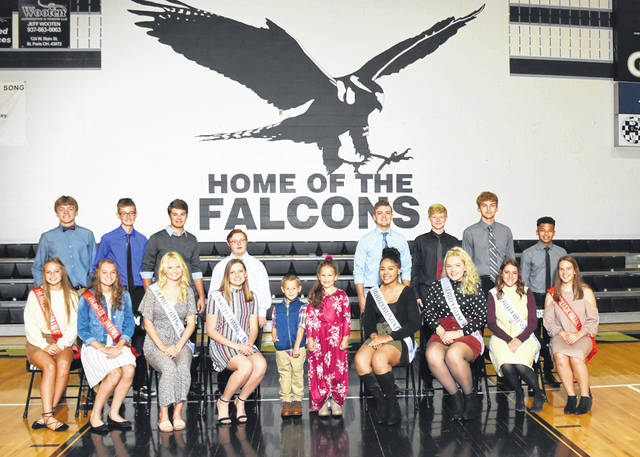 Graham High School hosts its annual homecoming this weekend when the Falcons take on Ben Logan in football Friday night. The homecoming court will be honored and the king and queen announced during pregame. Pictured in front from left are Lilly Blair, Amber Robeson, Holly Kamper, Olivia Lawrence, Tyson Jacobs, Piper Jacobs, Aaliyah Bacon, Eden Markwell, Madeline Shearer and Alexa Adams. In back from from left are Sam Ludlow, Ethan Daubenspeck, Todd Crawford, Colton Dunn, Brady Anderson, Ashton Dooley, Ryan St Myers and Shamar Compton.