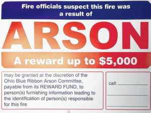 Award posted for arson information