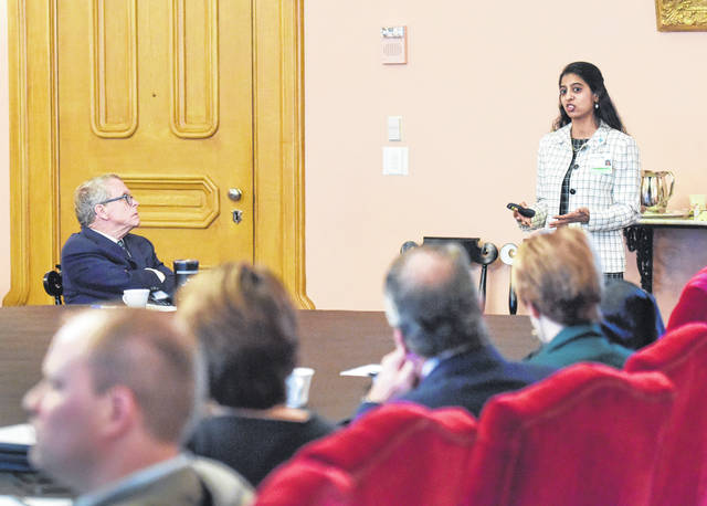 Mercy Health cardiothoracic surgeon Soumya Neravetla gives a presentation to Gov. Mike DeWine and his cabinet in Columbus.