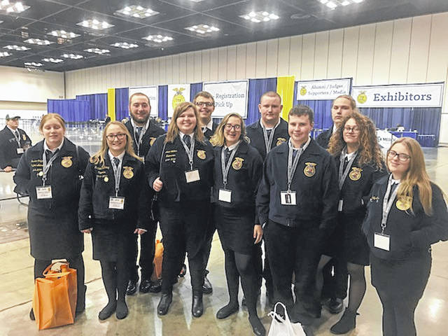 From left are Jessica Salyers, Rachael DuLaney, Justin Preece, Janie Wallace, Payton Stambaugh, Ashley Gemienhardt, Johnny Moore, Max Anderson, Alistair Greenlee, Phoebie Heatherly and Hailey Combs.