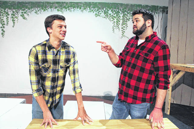 "Rosedale Bible College's production of ""Cotton Patch Gospel"" sets the story of Jesus in rural Georgia. Here, Jesus (Elliot Miller, on the left) cheerfully explains his lack of income to Matthew (William Brimmer), an IRS agent who is not amused."