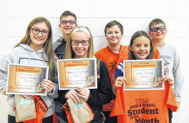 West Liberty-Salem Middle School's October Students of the Month are, from left, 8th graders Kenzie Phillips and Cale Hall, 7th graders Shyanne McClintick and Silas Kauffman and 6th graders Abbie Thoman and Brevin Louden.