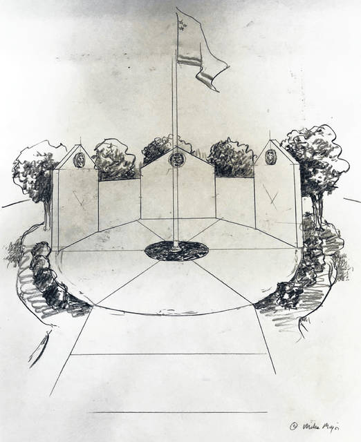 This is a drawing of a memorial wall to be constructed at West Liberty-Salem to honor deceased students, staffers and children of staffers, as well as graduates who died in military service.