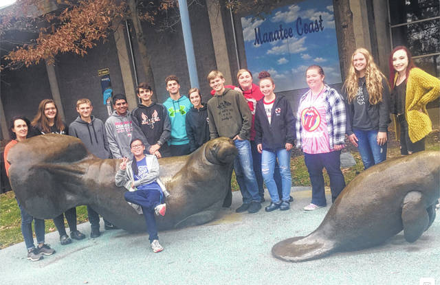 West Liberty-Salem students in teacher Carrie Smith's marine biology class visited the Columbus Zoo and Aquarium on Tuesday and had a behind the scenes tour of the zoo's Manatee Coast Shores and Aquarium, one of three facilities in the country where injured manatee are rehabilitated before being released back to their native waters in Florida. Shown on their field trip are teacher Carrie Smith, Noah Cline, Lillian Davis, Rachel Davis, Megan Dillon, Emily Hawkins, Luke Wilson, Lilly Keller, Ryan Motzko, Sydnee Payer, Connor Smith, Ashlie Spencer, Jace Wade and Kenny Harr.