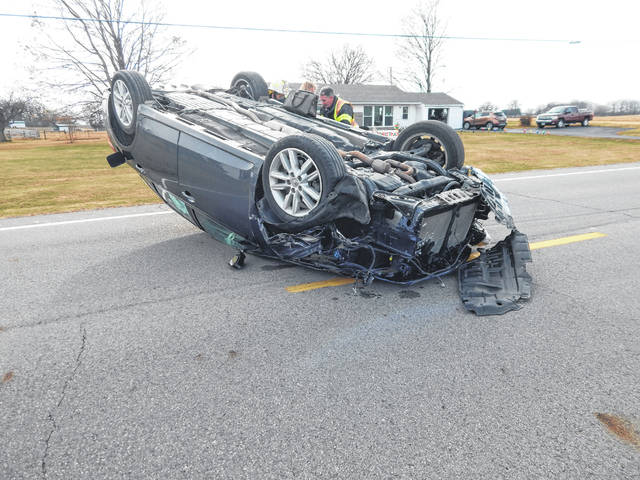 This Toyota Avalon skidded along East state Route 29 on its top before coming to rest in the roadway. Its sole occupant, Annie Clifton of London, was injured and transported by medical helicopter to a regional hospital.