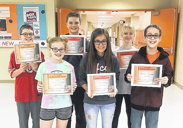 West Liberty-Salem Middle School's November Students of the Month are, from left, 6th graders Geneva Estep and Dylan King, 7th graders Anna Cole and Luke McGill and 8th graders Emma Bails and Karter Spriggs.