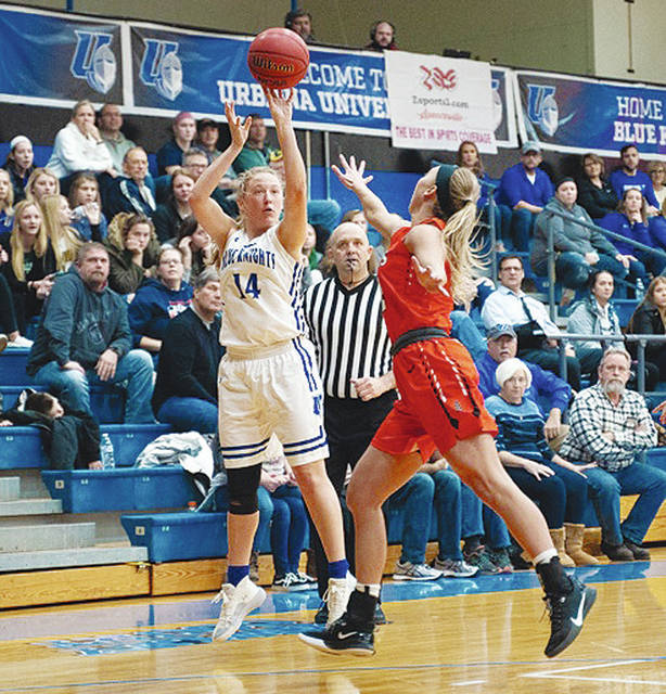 UU's Kasey Knippen drains a three-pointer during Tuesday night's game with visiting Findlay.