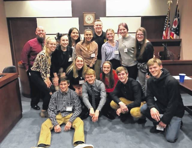 West Liberty-Salem's mock trial team competed in the district tournament in Marion on Friday, January 17. West Liberty-Salem won the district tournament and moves on to the regional tournament on February 7. Lilly Keller and Cade Clerico won outstanding attorney awards and Naomi McGill won outstanding witness award. Pictured are (left to right floor) Trenton Douthwaite, Cade Clerico, Tyler Douthwaite, Kenny Harr; (second row) Logan Humphrey, Naomi McGill; (third row) Lydia Moell, Lilly Keller, Yagmur Bereket, Alex Burton, Isaac Lee, Jaelen Meeker, Maddie Hutton, Josie Kennaw.