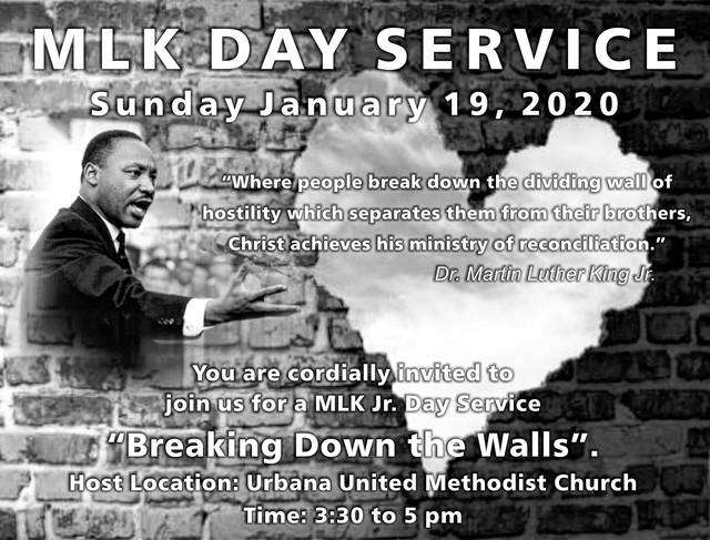 Dr. Martin Luther King Jr. remembrance service will be held Sunday, January 19, 3:30 to 5 p.m., at the Urbana United Methodist Church, 238 N. Main St., Urbana.
