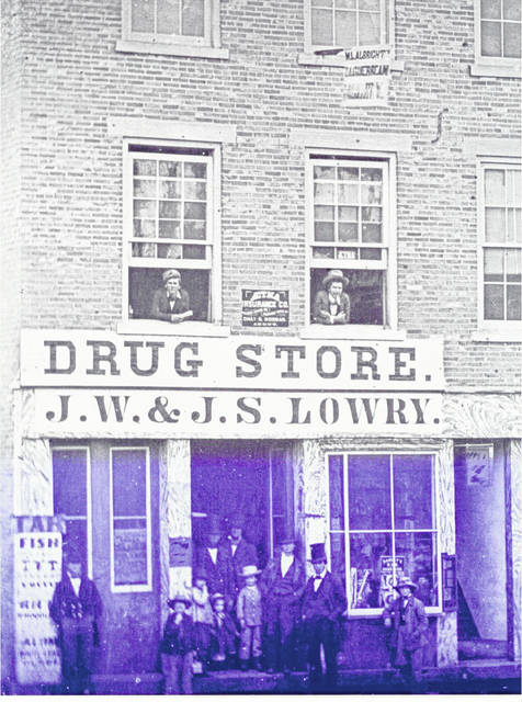 Then - The Lowry Drug Store occupied the first floor of 127 N. Main St., Urbana, in 1865.