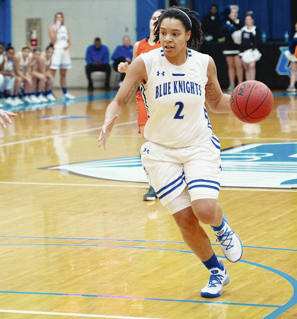 UU's Sylvia Hudson (pictured) had 22 points and 14 rebounds as the Blue Knights knocked off Charleston, 83-78, in overtime Wednesday night