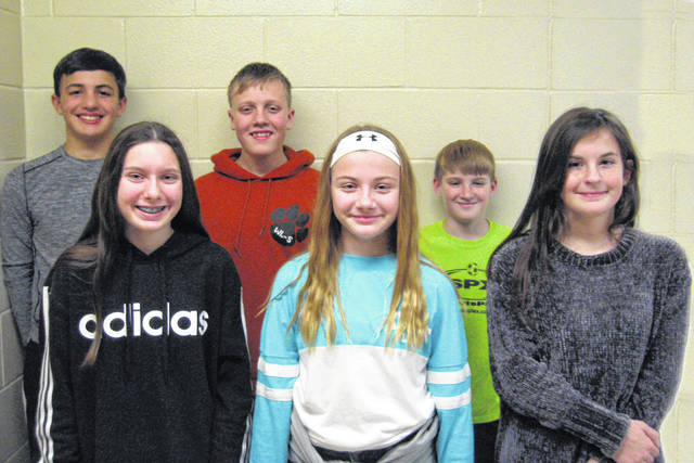 West Liberty-Salem Middle School's December Students of the Month are, from left, 8th graders Zoie Vermillion and Matthew Christison, 7th graders Sami King and Max Rudolph and 6th graders Emery Longaberger and Lance Campbell.
