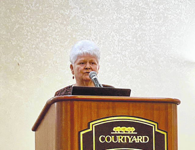 "Elizabeth Bowshier of Urbana addresses those gathered on Feb. 6 at ""An Evening Out for Heart Health"" in Springfield."