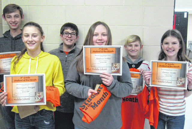 West Liberty-Salem Middle School's January Students of the Month are, from left, 8th graders Kerrigan Burgel and Jaden Dunn, 7th graders Andrea Stokes and Brodey Deam and 6th graders Emma Smith and Dallas Koons.