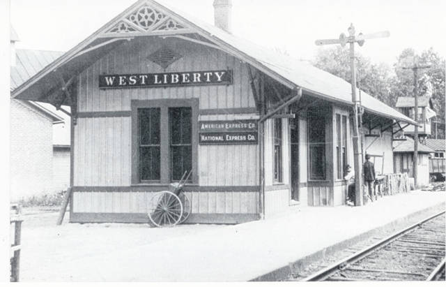 Then - This circa 1920 photo (#A1826) is of the West Liberty Railroad Depot was on Columbus Street.