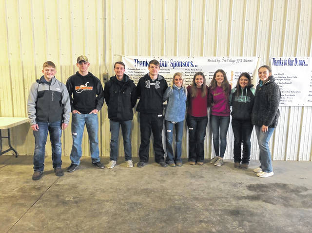 The West Liberty-Salem General Livestock Team traveled to New Madison on Feb. 8 to compete in the PATRIOT Livestock Judging Contest, the team's first contest of the season. The Reasons team consisting of Adalyn Caudill, Cooper Havens, Kyndall Metz, Lance Baldwin and Dawson Jenkins finished in first place. Adalyn led the team with a second place individual finish, Cooper was 8th, Kyndall was 12th, Lance was 15th and Dawson was 18th. The Non-Reasons team finished 9th in the Non-Reasons contest. Payton Eckurd led the Non-Reasons team with a 16th place finish, followed by Wylie Harbour, 47th, Marissa Bailey, 52nd, and Ava Buck 60th. Tri-Village FFA Alumni hosted the event. Shown from left are Wylie Harbour, Dawson Jenkins, Lance Baldwin, Cooper Havens, Kyndall Metz, Adalyn Caudill, Payton Eckurd, Marissa Bailey and Ava Buck.