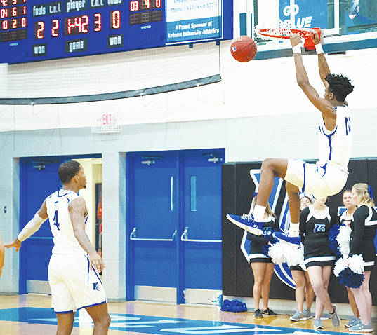 UU's Mario Lacy Jr. goes in for a dunk during Saturday's game with visiting West Virginia Wesleyan.