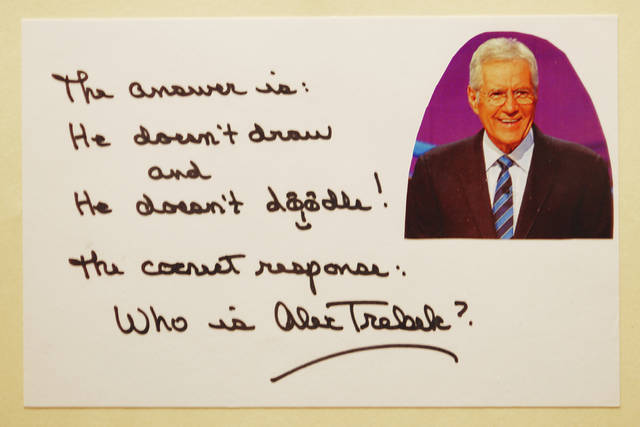 This artwork from Jeopardy! host Alex Trebek will be part of the Bad Art dinner and auction on Feb. 28.
