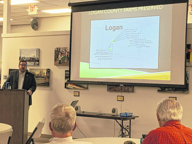 David Miran of the Ohio Department of Agriculture discussed farm land that has been preserved in Logan County.