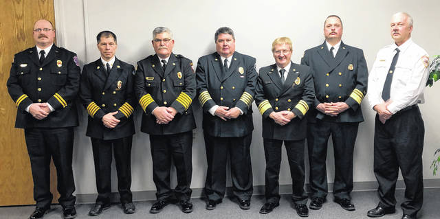 From left are Capt. Caleb Ford (Rosewood), Chief Dean Ortlieb (UFD), Chief Robert Hoey (Christiansburg), Chief Scott Massie (JSP), Assistant Chief Steve Castle (Mechanicsburg), Chief Robert Keene (Mechanicsburg) and Capt. Darin Leach (West Liberty).