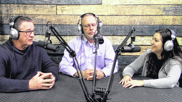 """Big Questions"" podcast hosts are, from left, Tim Weller, Jim Lillibridge and Mallory Zachrich."