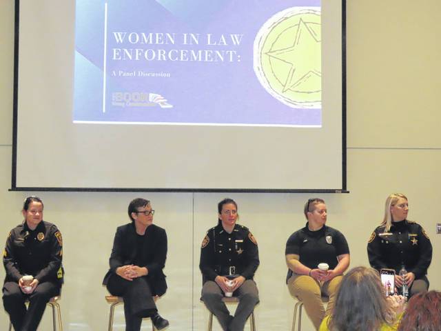 The Women in Law Enforcement panel included Cassidy Cantrell, a Springfield City Police Division Uniform Patrol sergeant; Rita Monaghan, Champaign County Court of Common Pleas director of Pretrial Services; Melany Ward, a Champaign County Sheriff's Office deputy; Mallory Lash, a Piqua police officer and certified Ohio Peace Officer instructor; and Angie Hart, a Greene County Sheriff's Office correctional officer.