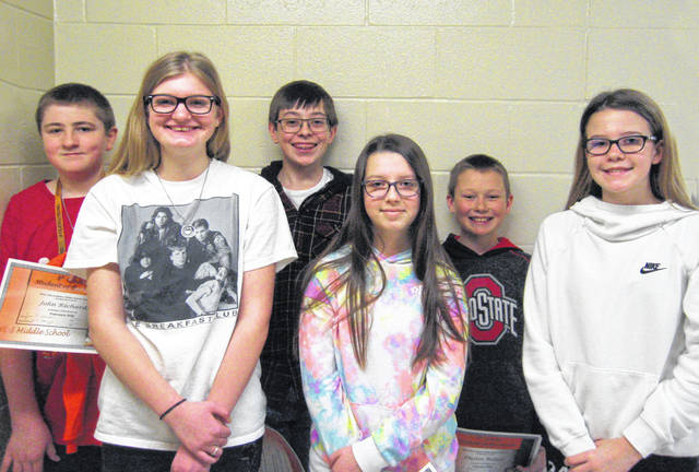 West Liberty-Salem Middle School's February Students of the Month are, from left, 8th graders Jane Fullenkamp and John Richards, 7th graders Emily Hager and Jaden Lowry and 6th graders Olivia Reichardt and Dustin Bolton.