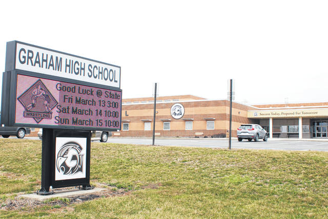 A digital sign in front of Graham High School on Thursday morning wishes its defending state championship wrestling team best of luck at the state tournament, which was scheduled to begin today in Columbus. But the Ohio High School Athletic Association announced Thursday at 2:15 p.m. it would postpone all remaining winter sports tournaments, including wrestling, due to COVID-19 concerns.