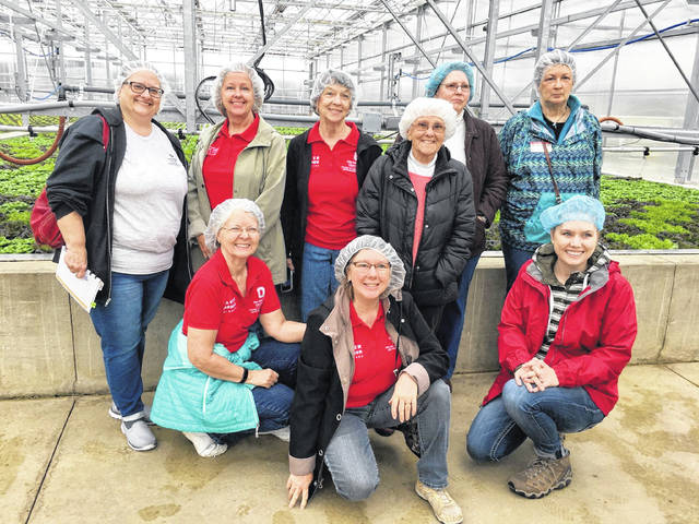 In early March, before the need for social distancing, the Champaign County Master Gardener Volunteers (MGV) visited the modern hydroponic greenhouses at Old Souls Farm near St. Paris. The farm uses rainwater to grow microgreens, arugula, basil and several types of lettuce. If interested in plants and providing education and outreach in the community, the Master Gardeners want to hear from you. For information on the MGV program, contact Amanda Douridas at 937-484-1526 or Douridas.9@osu.edu. Shown on their field trip to Old Souls are, standing from left, Dawn Lanman-Ludwig, Valerie Laughman, Marsha Hess, Paddy Barr, Kathy Haney, Norma Follstaedt, kneeling from left, Debbie Ruchty, Jeanette Enyart and Amanda Douridas.