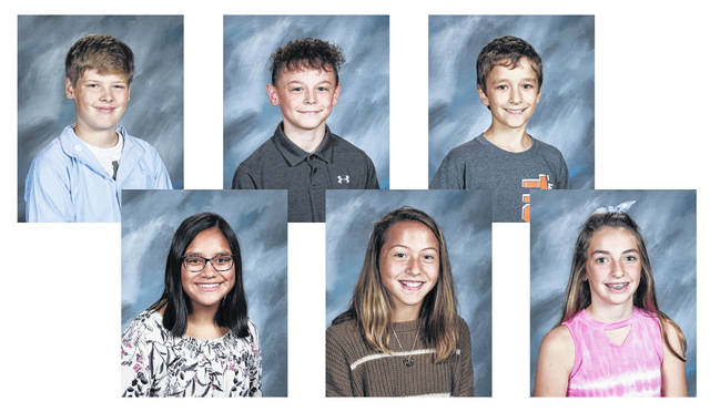 West Liberty-Salem Middle School's March Students of the Month are, from left, 8th graders Evan Fullenkamp and Ivy Cline, 7th graders Hunter Knotts and Alyssa Mueller and 6th graders Brady Kauffman and Breece Gullett.