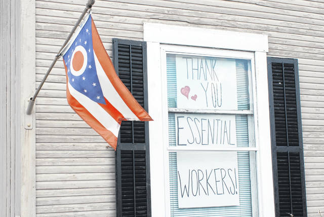 This sign inside a residence in St. Paris shows gratitude for local and Ohio workers sacrificing their safety to make sure others have what they need during this pandemic.