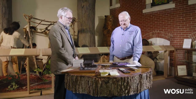Dan Walter (right) of the Champaign County Historical Society is interviewed for a program that recently aired on WOSU-TV in Columbus.