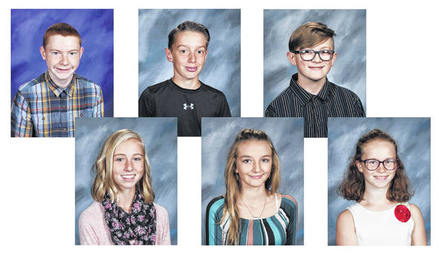 West Liberty-Salem Middle School's April Students of the Month are, from left, 8th graders Addison McAuley and Adam Jennings, 7th graders Allie Ferryman and Troy Bradley and 6th graders Lydia Schmidt and Mason Helms.