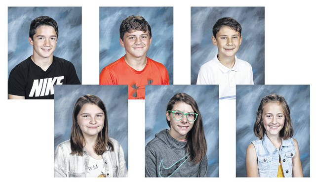 West Liberty-Salem Middle School's May Students of the Month are, from left, 8th graders Abby Harris and Gabe McGill, 7th graders Lilly Guyan and Josh Wilcoxon and 6th graders Mylee Dooley and Brock Burgel.