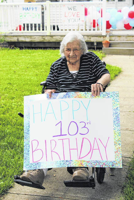 Evelyn Wingfield of Champaign County celebrated her 103rd birthday with the help of her family. On May 27, the family had a birthday parade with a dozen cars decorated in balloons and signs. She had 4 children, 12 grandchildren, 22 great-grandchildren, 31 great-great-grandchildren and 1 great-great-great grandson. She was very excited and enjoyed the event very much.
