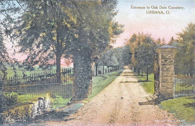 Then - This 1920 postcard shows the driveway that borders the north side of Oak Dale Cemetery.