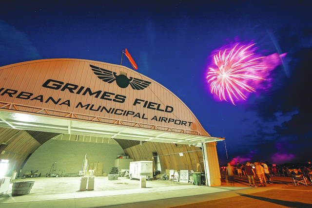 There will be fireworks at Grimes Field this year, but social distancing rules will apply. In this file photo from 2019, the weather was ideal for the display.