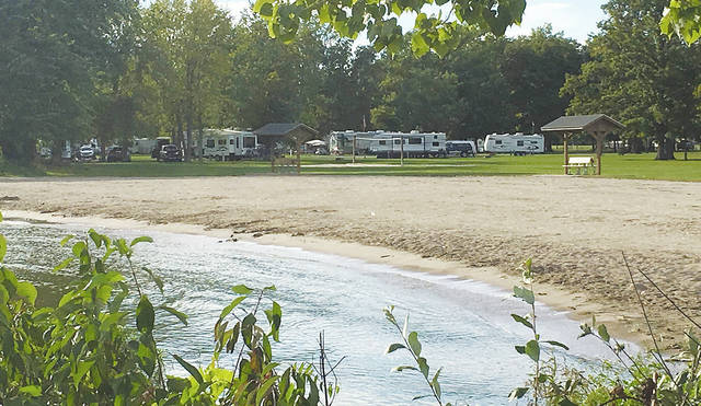 Pictured is the campground beach at Indian Lake.